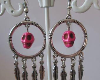 hoop earrings and turquoise ivory skull beads