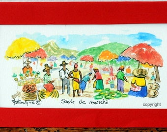 watercolor with Saint Pierre Martinique-card-watercolor-watercolor miniature@kreapat market scene