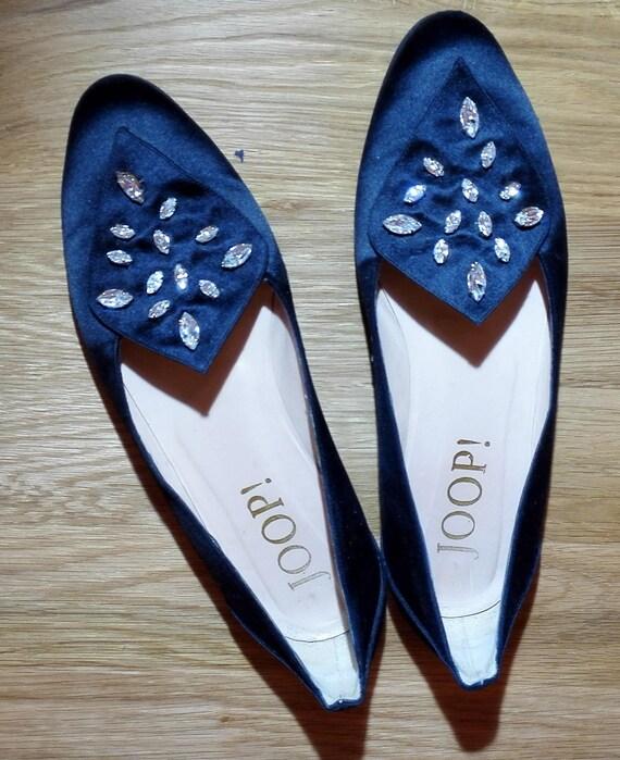 Satin Schuhe Ballerinas, flat shoes, mit Strass rhinestone, by