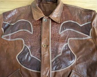 Cowboy Leather Jacket LA MATTA Vintage 80ies for men Size 54