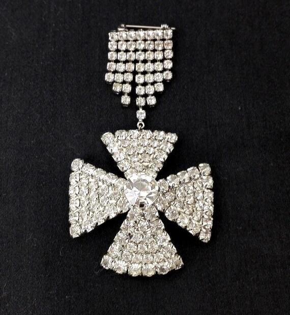 Rhinestone brooch Rhinestone brooch Maltese cross,