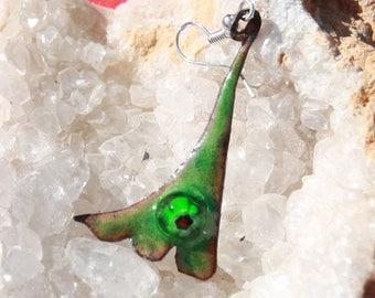 Enamel on copper earring