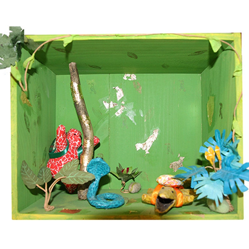 3D box or diorama, entirely hand made with paper mache animals sculptures