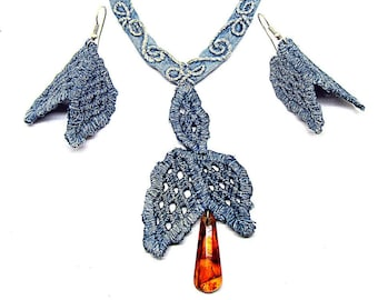 Denim lace earrings and necklace