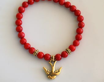 Beaded coral bamboo - Golden swallow charm