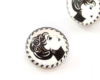 Snap chunk face black and white 18 mm cabochon