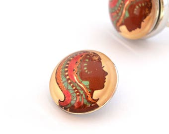Cabochon face multicolored 18 mm snap button