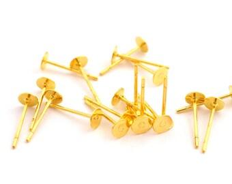 20 copper tray 4mm studs earrings