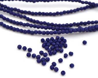 200 perles Nacrées 3mm Bleu Indigo en verre de Bohème
