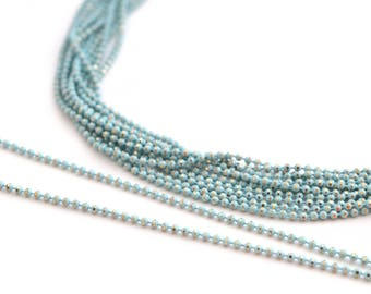 chain 50cm 1.2 mm metal light blue and gold beads