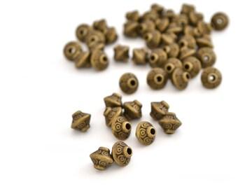 10 beads bronze metal 6.5x7.5mm