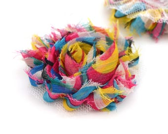 Multicolored striped fabric flower style Carnival 6 cm to sew or stick