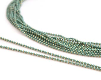 chain 50cm 1.2 mm metal light turquoise and gold beads