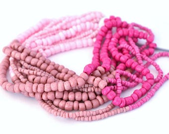 Large pink seed beads, size 1.5 mm to 4 mm