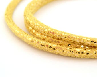 50cm cord round yellow and glittery Gold 5 mm
