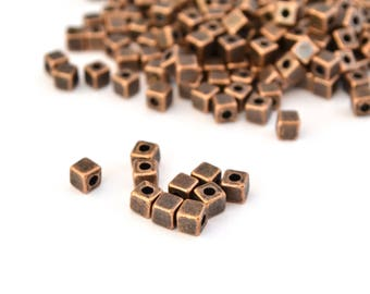 10 cubes are copper aged metal 4mm