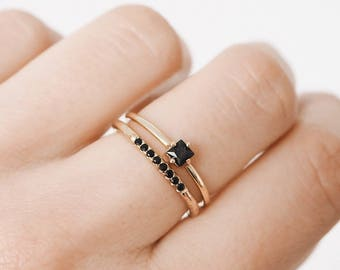 Tiny gold ring - black zircon ring - delicate ring - delicate gold ring - Gold ring - Dainty jewelry - R070