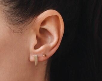Gold triangle studs - delicate earrings - triangle earrings - minimalist jewelry - stud earrings - Delicate jewelry,  E020