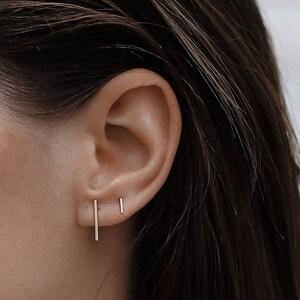 Minimalist Jewelry Delicate stud earrings Delicate studs E009 Line Earrings Bar stud earrings