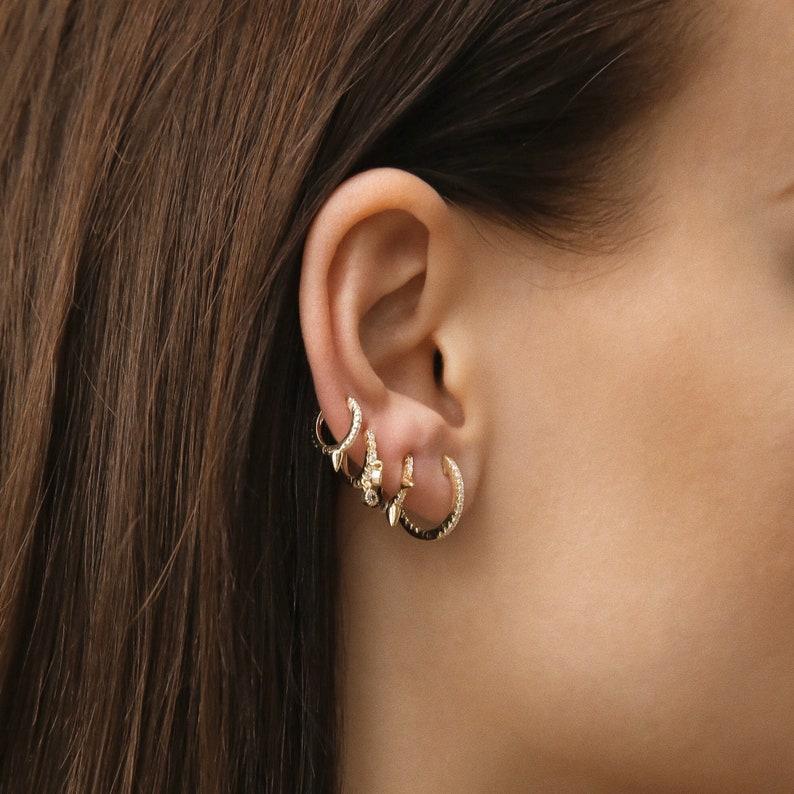 3f652cf2b Hoop Earrings With Charm Cartilage Hoop Earring Large Hoop | Etsy