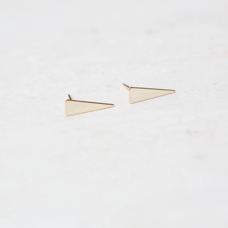 Delicate jewelry triangle earrings stud earrings Gold triangle studs minimalist jewelry delicate earrings E020