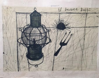 "Bernard Buffet Original Lithograph Lampe Tempete 16""x22"" Hand Signed Numbered"