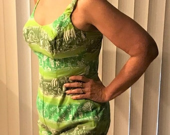 ad3d0442c7 Vintage Pin Up Swimwear. 1960s Bathing Suit, Lime & Dark Green One Piece  with Beach Scene, Size Small, Mint Condition.
