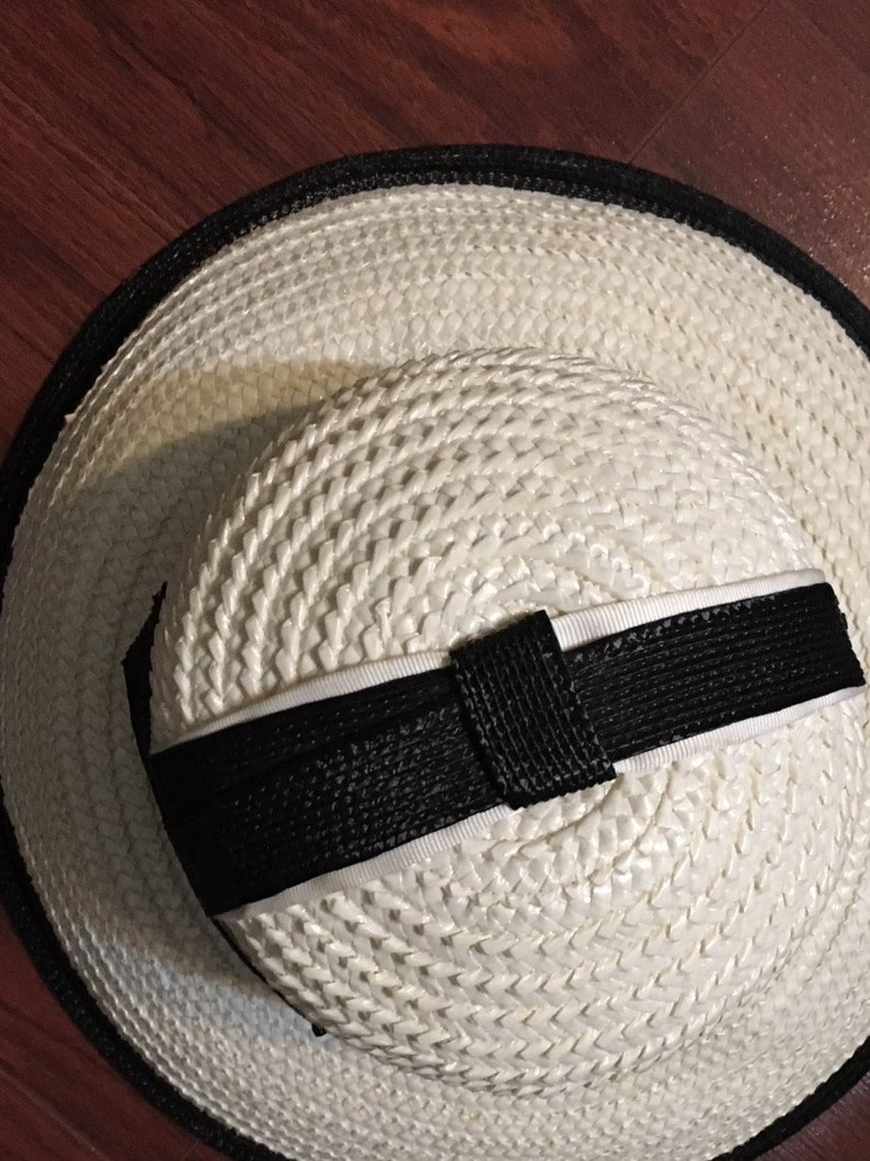 1960/'s Be Fashion Ready for Summer!!! Mint Condition Vintage Hats by Yolie Hat Classic White and Black Straw Wide Brim Style