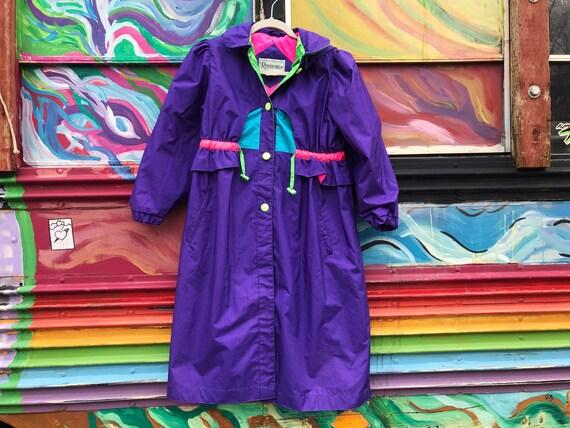 Vintage children's neon color block trench coat -