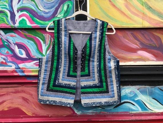 Vintage handmade quilted cotton vest - medium