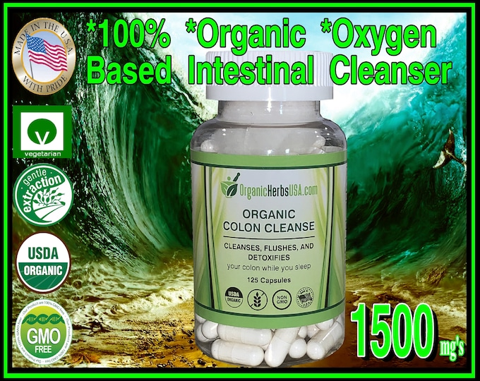 100% Organic Oxygen Based Colon Cleanser Elemental Magnesium 1500mg's 120 Vegetarian Capsules, Cleanses Your Intestines Safely and Naturally