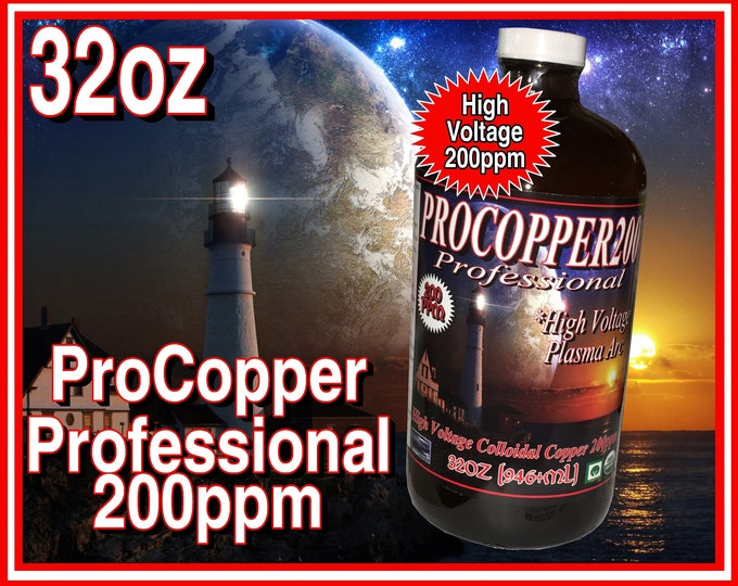 Colloidal Copper Professional 200ppm Plasma Arc High Voltage in Glass with Scoop 32oz's (946ml)