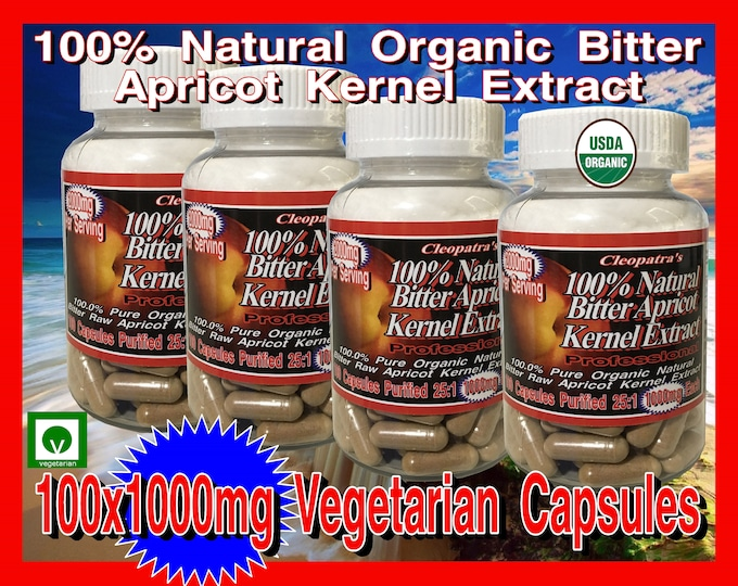 4 Pack Special : 100 Percent Organic Natural Bitter Apricot Kernels Seeds Extract in 1000mg Vegetarian Capsules x 400 Capsules