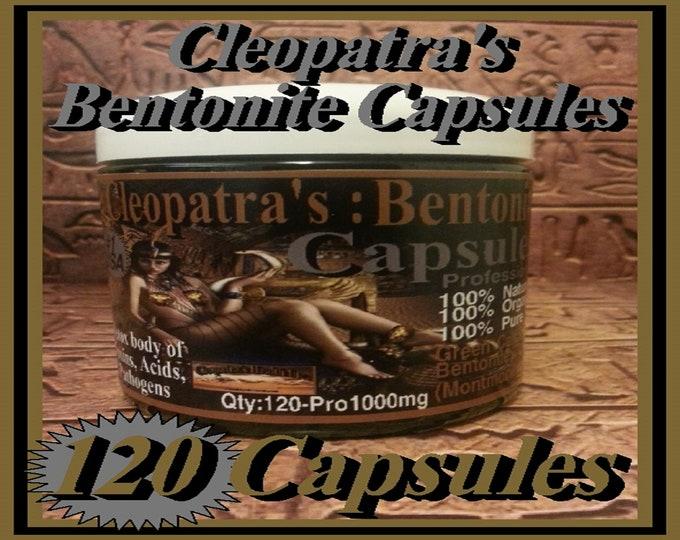 Cleopatra's Montmorillonite Green Calcium Bentonite Clay Capsules 120 Vegetarian Caps x 1000mg's Each Organic and Natual