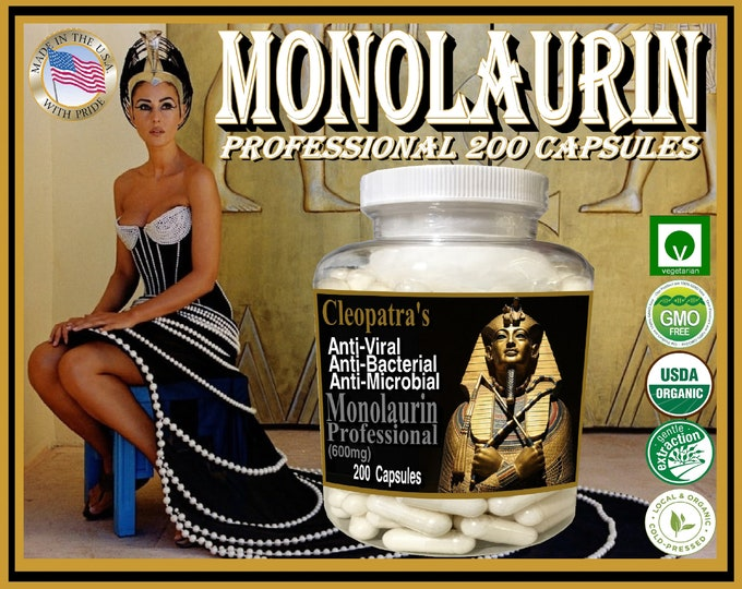 Monolaurin Professional 600mg x 200 Vegetarian Capsules 100% Organic and Pure