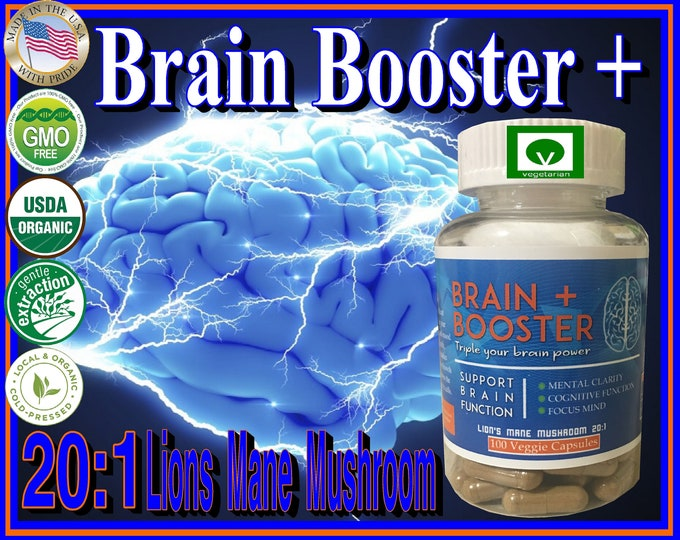 Organic Natural Brain Booster 20:1 Lions Mane Extract 100 Vegetarian Capsules 1000mg's Each