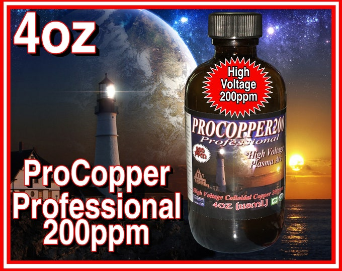 4oz Pro Colloidal Copper High Voltage Plasma Arc Method 200ppm in Glass with Scoop