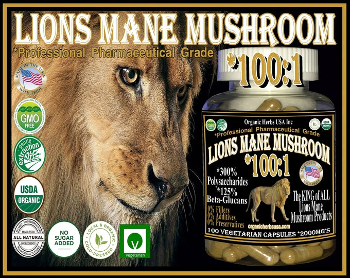 Lions Mane Mushroom 100:1 Brain Booster 100 Times The Power of Others