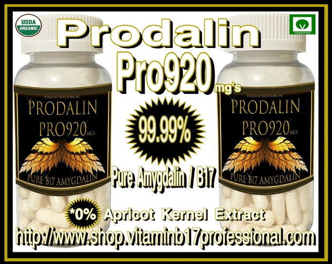2 Pack Special : Prodalin Pro920 Professional 200 Vegetarian Capsules of Pure Vitamin B17 with No Apricot Kernel Extract