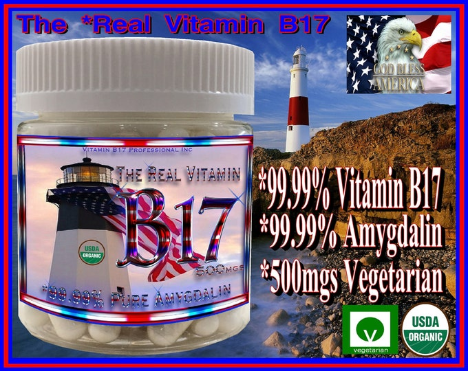 The Real Vitamin B17 Pro500mg's is Organic 99.99 Percent Pure Vitamin B17 in 500mg Vegetarian Capsules with 0% Apricot Kernel Extract