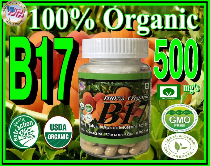 100% Organic Natural Apricot Kernel Seed Extract in 500mg Vegetarian Capsules with it's natural Vitamin B17 Content