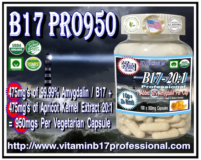 Organic Vitamin B17 Pro950 Professional 50/50 Pure 99.99 Vitamin B17 and Organic Apricot Kernel Extract