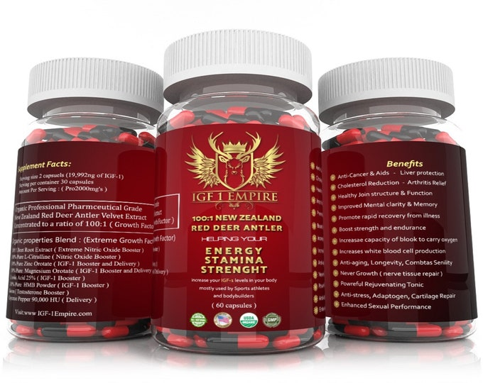 New Zealand Red Deer Antler 100:1 100 x The Concentration 60 Capsules 1000mgs Each