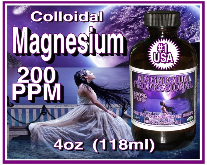 4oz Organic Pure Colloidal Magnesium Professional 200ppm 118ml in Glass Bottle with Dispenser