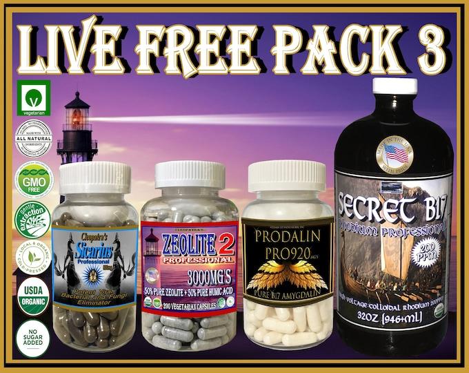Live Free Pack 3 includes Secret B17 Rhodium Pro32oz, Prodalin Pure Vitamin B17, Zeolite 2 with Humic Acid and Sicarius Professional