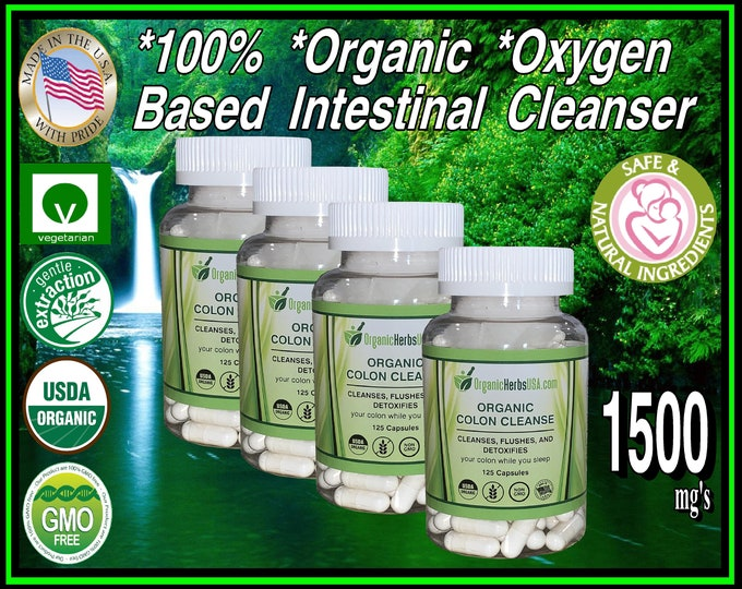 Organic Elemental Magnesium Oxygen Based Colon Cleanser 4 Pack 500 Vegetarian Capsules Deep Intestinal Cleanser