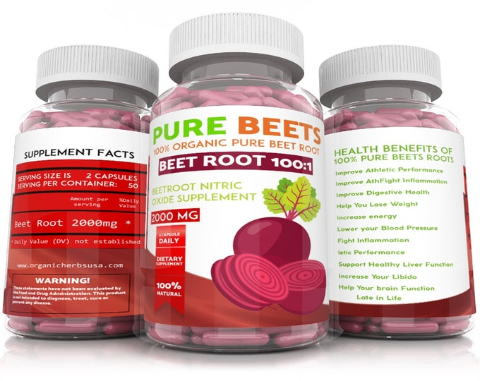 100% Organic Beet Root 100:1 (100 X The Concentration) 1 Capsule =100 of the Competition. 2000mg's x 100 Vegetarian Capsules Nitric Oxide