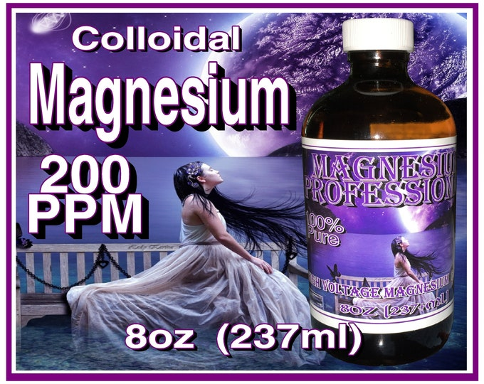 8oz Magnesium Professional UnderWater Plasma Arc Colloidal 200ppm 237ml Per Glass Bottle with Scoop
