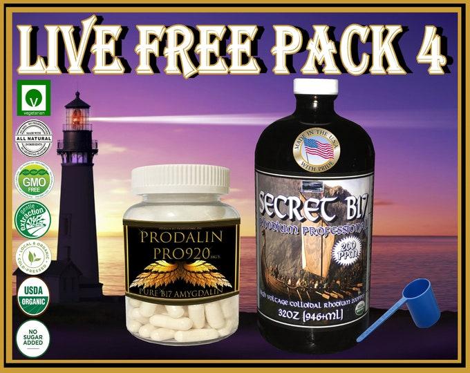 Prodalin Professional Pro920 99.99% Vitamin B17 No Apricot Extract with Secret B17 Rhodium Professional 200ppm Colloidal Plasma Arc Formula