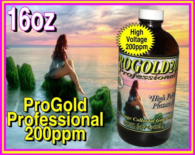 16oz Colloidal Gold Professional ProGold 200ppm 16oz Pure 99.99% High Voltage Plasma Arch Method